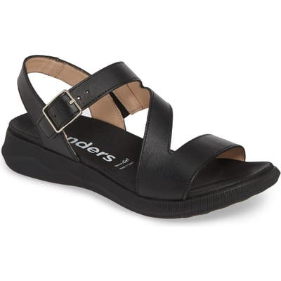 Wonders Platform Sandal - Black