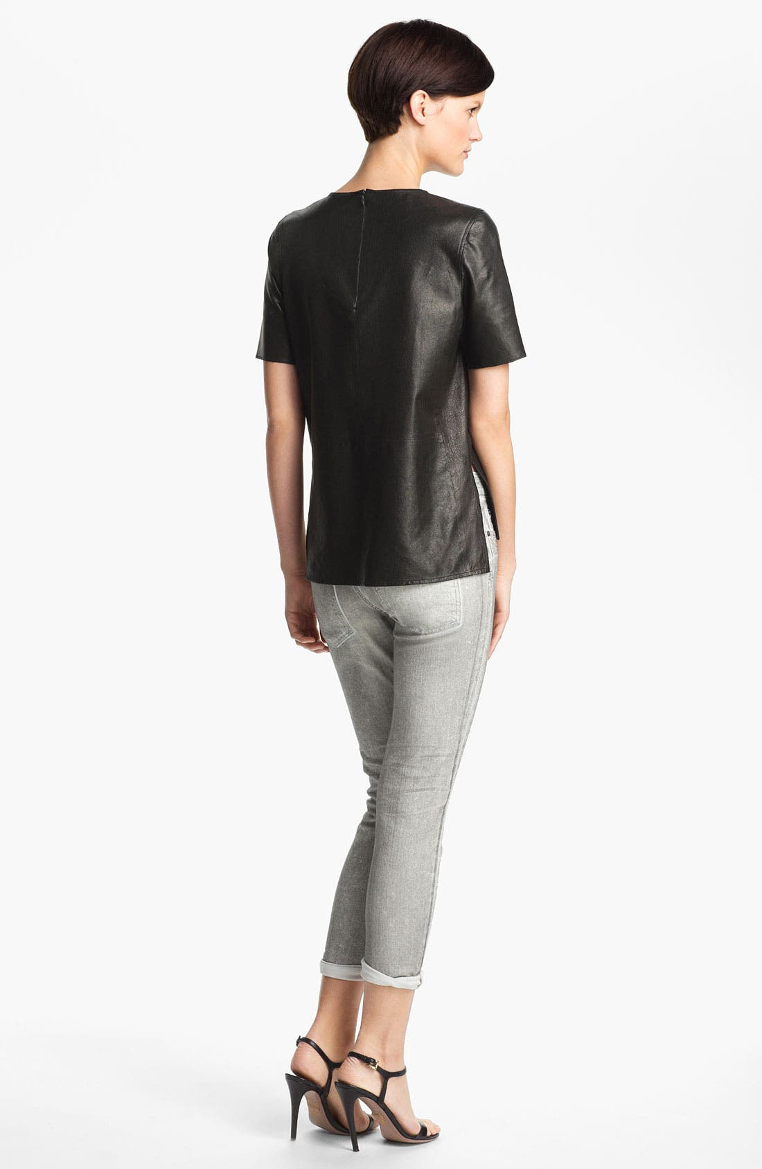 ,                             Leather Tee,                             Alternate thumbnail 4, color,                             001