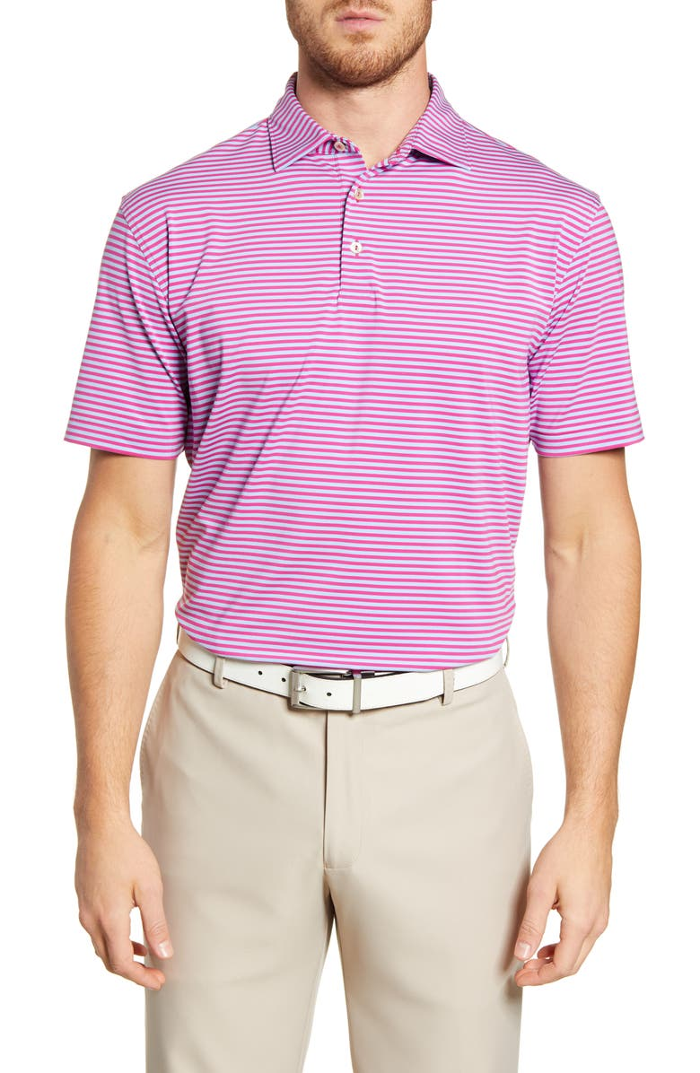 PETER MILLAR Competition Stretch Polo Shirt, Main, color, RHUBARB