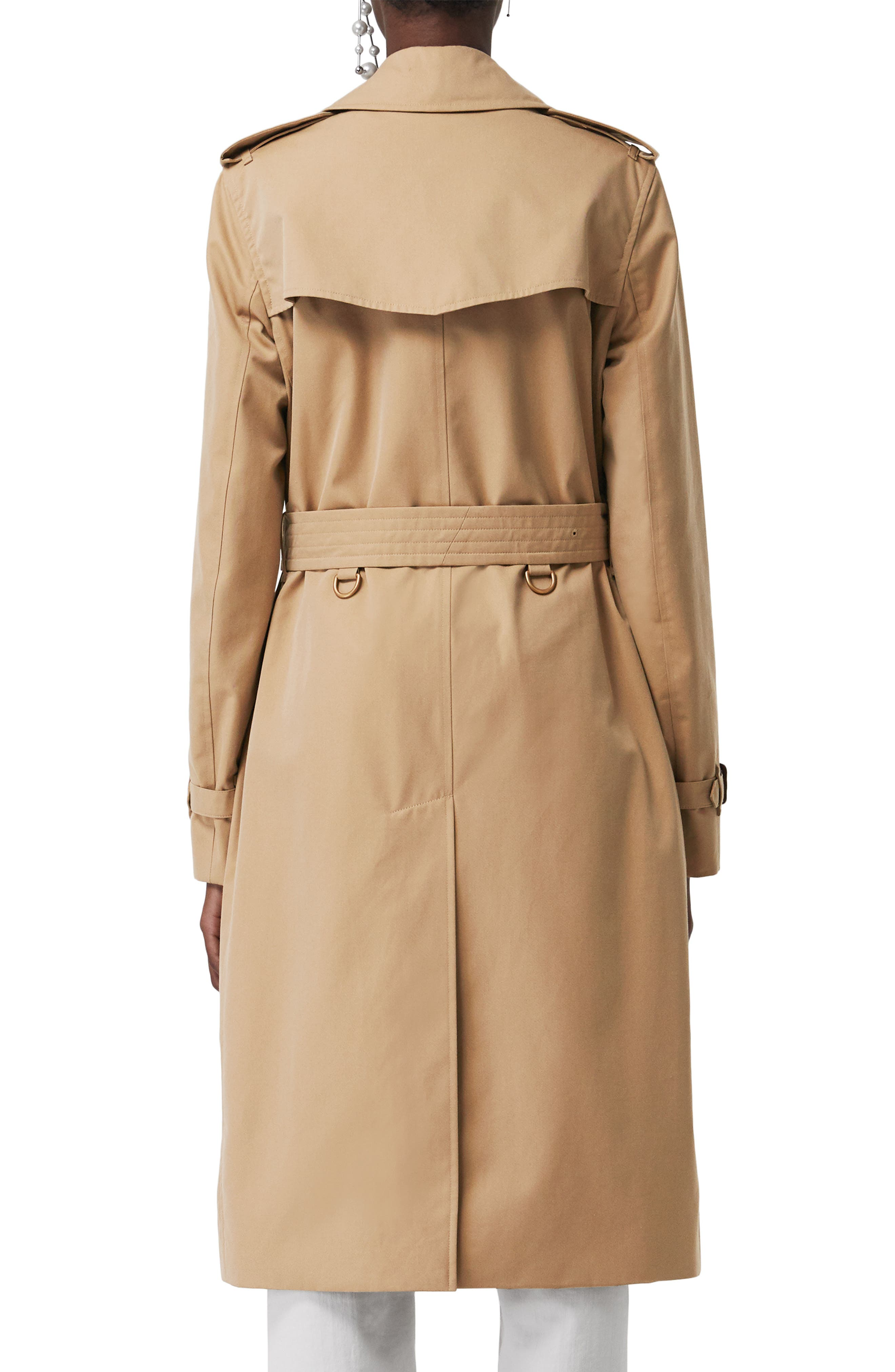 ,                             Kensington Long Trench Coat,                             Alternate thumbnail 2, color,                             DARK HONEY