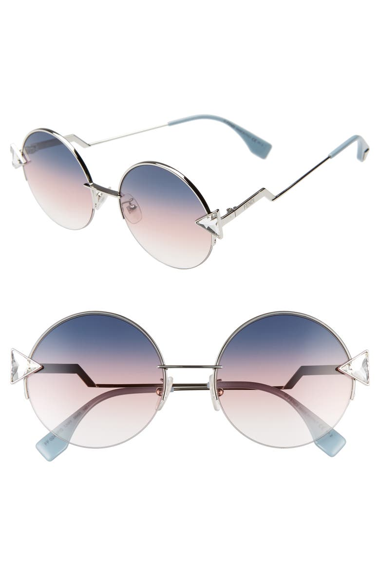 FENDI 55mm Special Fit Round Sunglasses, Main, color, 040