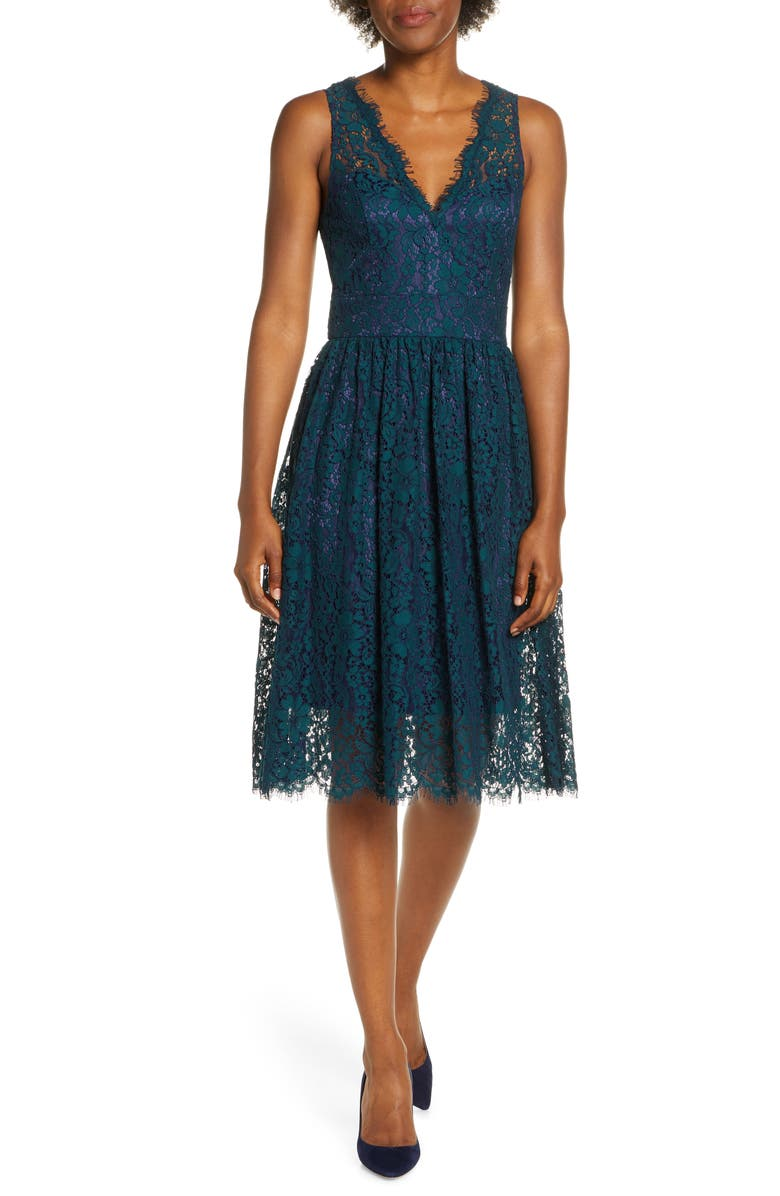ELIZA J Lace Fit & Flare Dress, Main, color, 310
