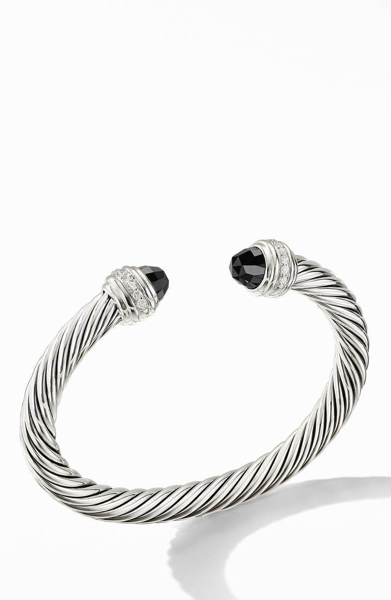 DAVID YURMAN Cable Classics Bracelet with Semiprecious Stones & Diamonds, 7mm, Main, color, SILVER/ DIAMOND/ BLACK ONYX