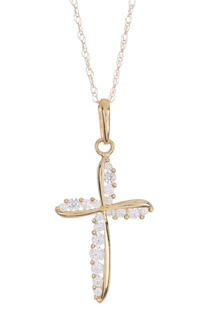 Image of Candela 10K Gold CZ Cross Pendant Necklace