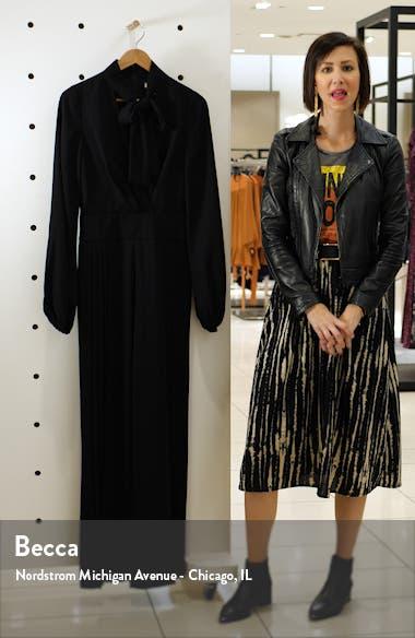 Long Sleeve Pleated Wide Leg Jumpsuit, sales video thumbnail