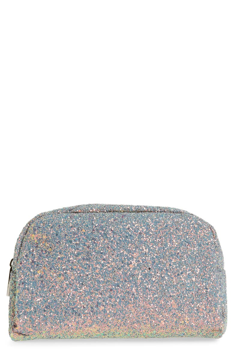 SKINNYDIP Crescent Teal Glitter Makeup Bag, Main, color, NO COLOR