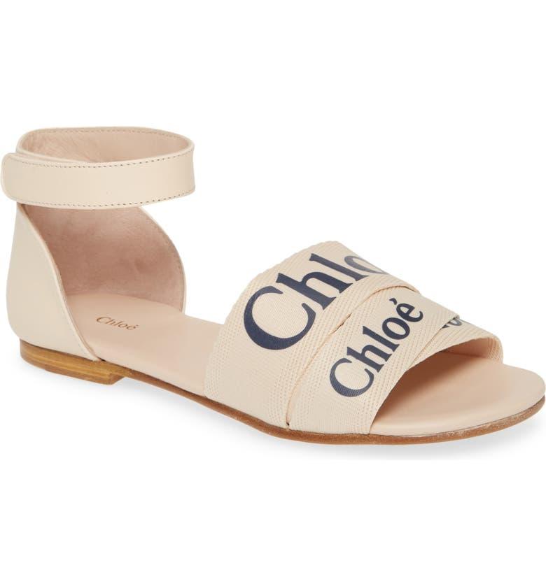 CHLOÉ Logo Ankle Strap Sandal, Main, color, PINK ICE