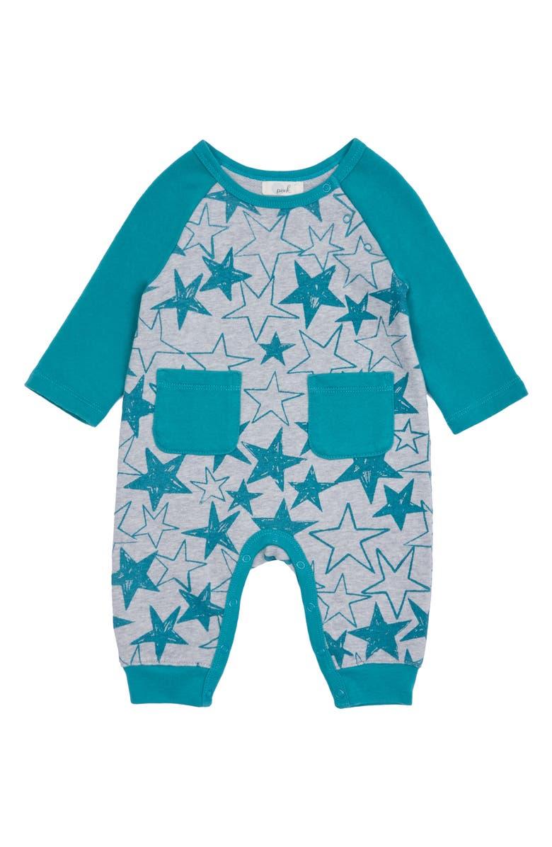 PEEK ESSENTIALS Averill Star Romper, Main, color, GREY HEATHER