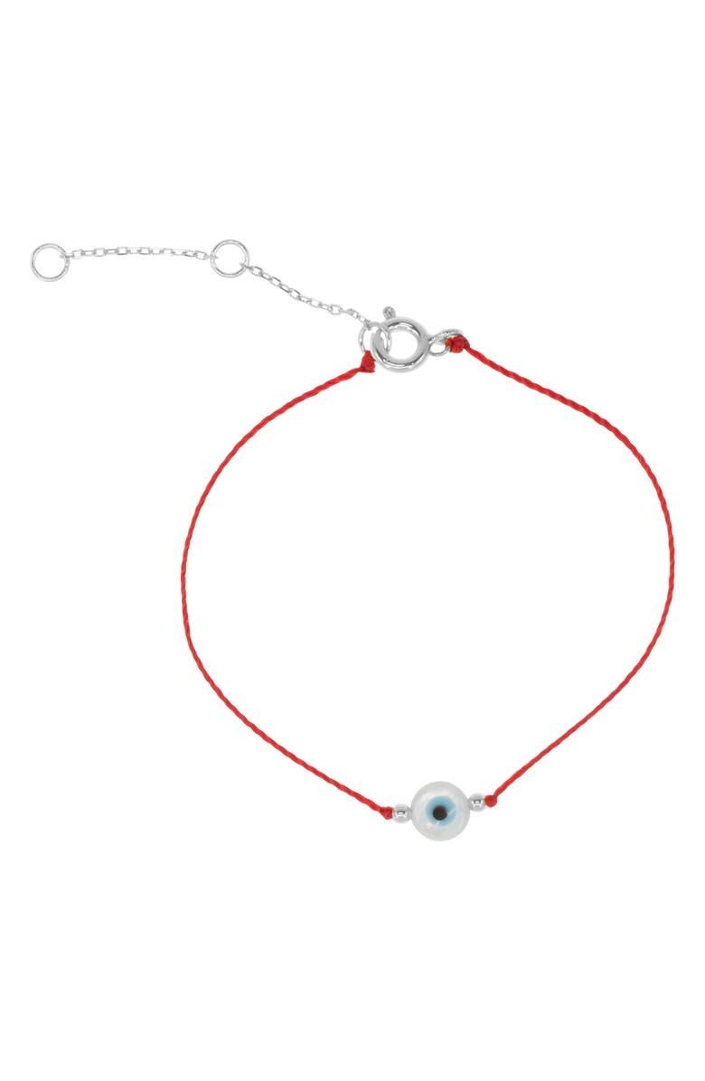 RAGEN JEWELS Evil Eye Cord Bracelet, Main, color, SILVER
