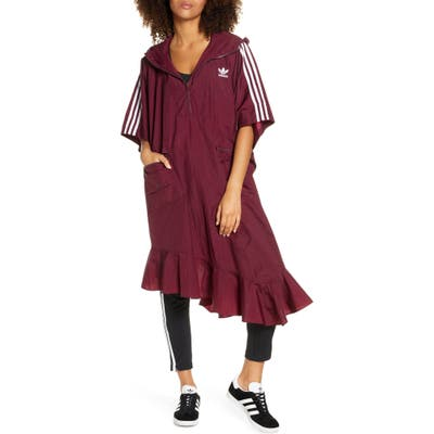Adidas Originals Hooded Asymmetrical Poncho, Burgundy