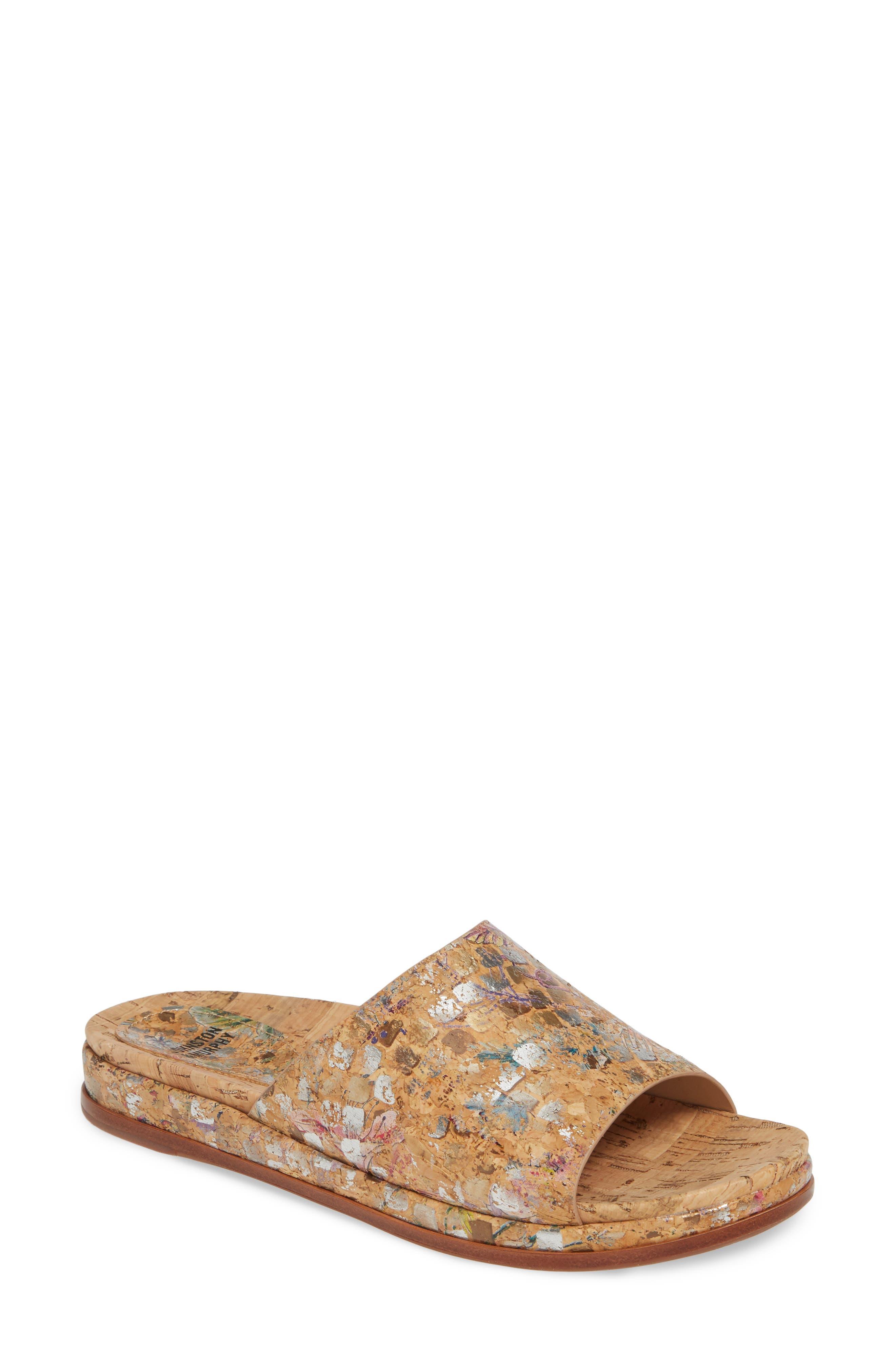 Johnston & Murphy Jenny Slide Sandal- Metallic