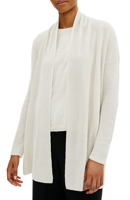 Image of Eileen Fisher Shawl Collar Organic Cotton Cardigan
