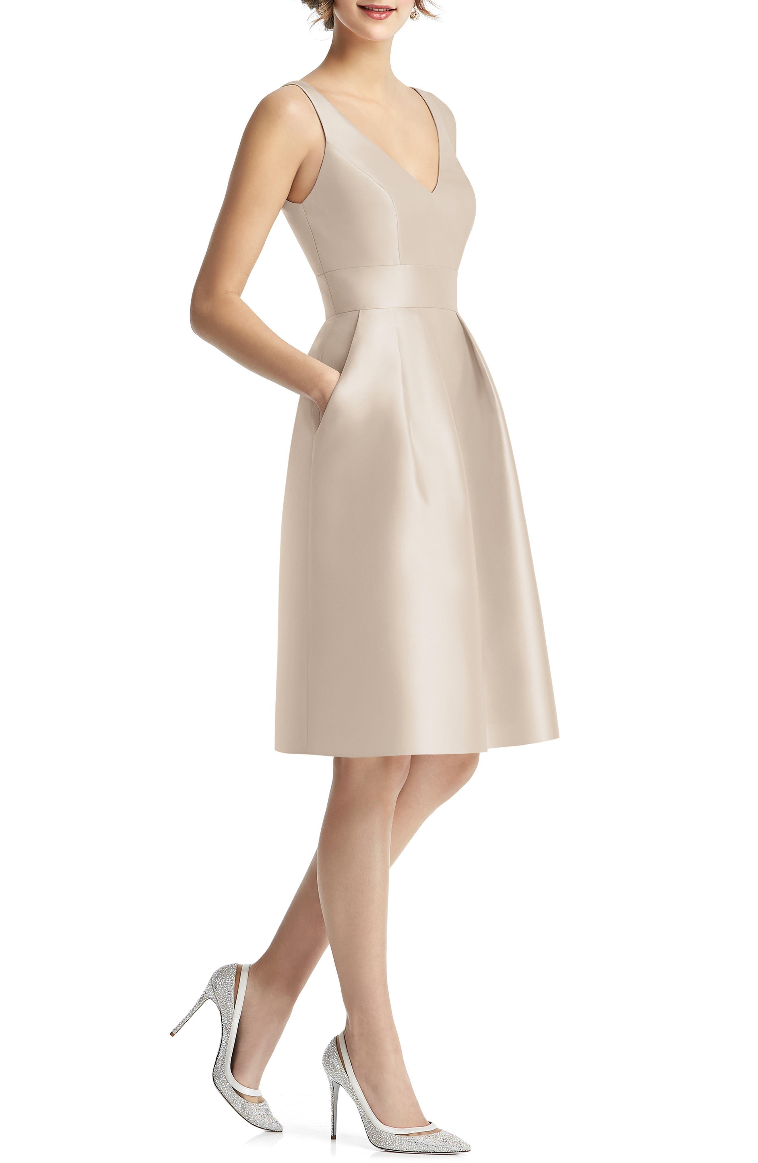 Alfred Sung V-Neck Satin Cocktail Dress, Beige