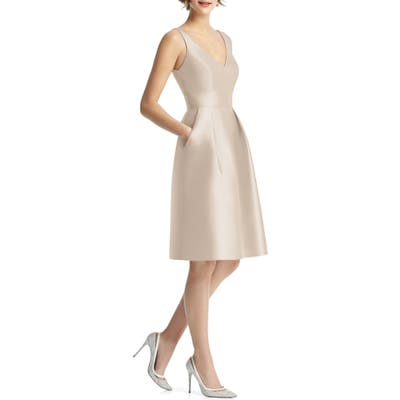 Alfred Sung V-Neck Satin Cocktail Dress, Beige