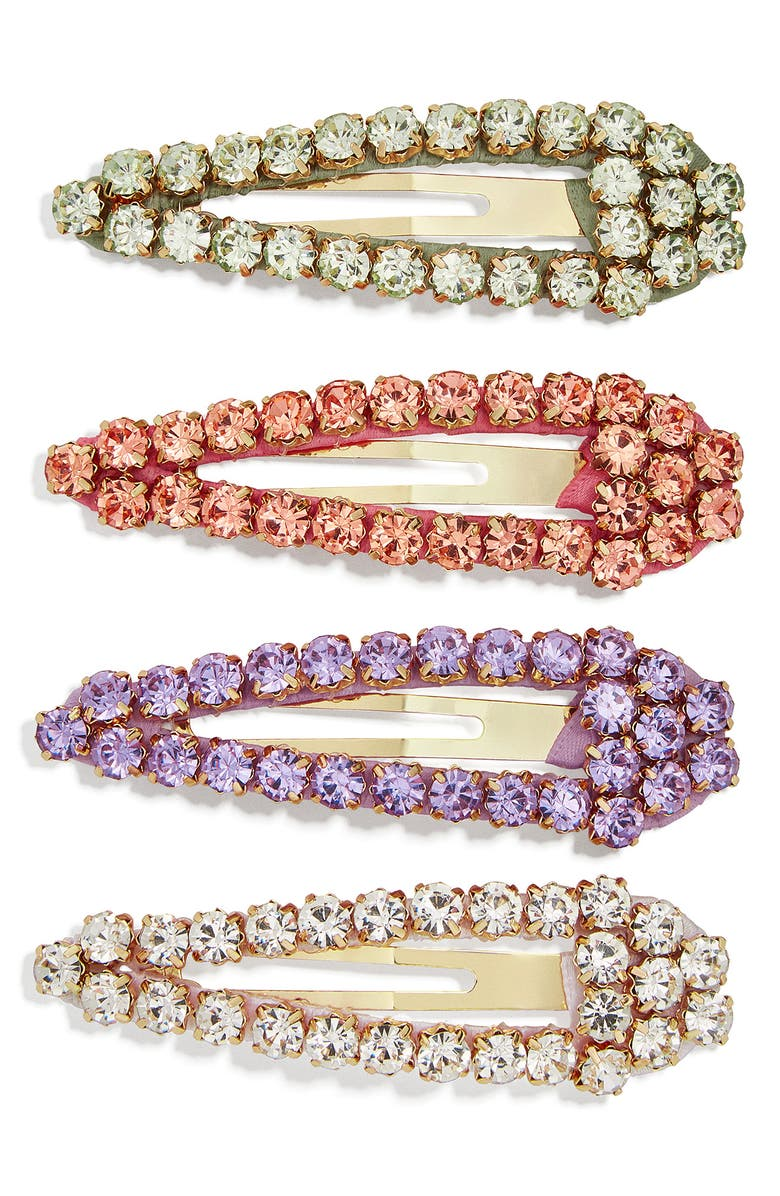 BAUBLEBAR 4-Pack Crystal Barrettes, Main, color, CLEAR/ RED/ PURPLE/ GREEN