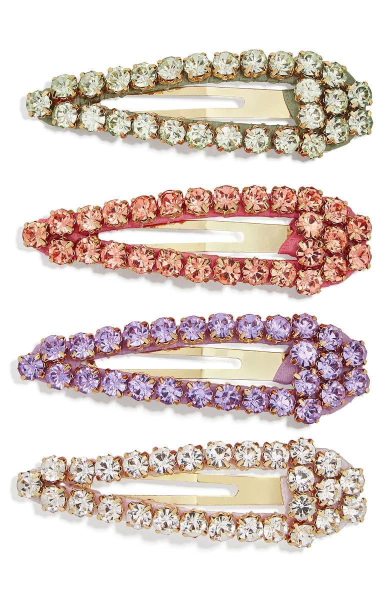 BAUBLEBAR 4-Pack Crystal Barrettes, Main, color, 600