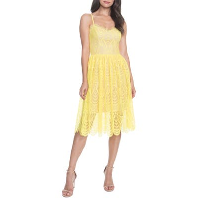 Dress The Population Francesca Embroidered Lace A-Line Dress, Yellow