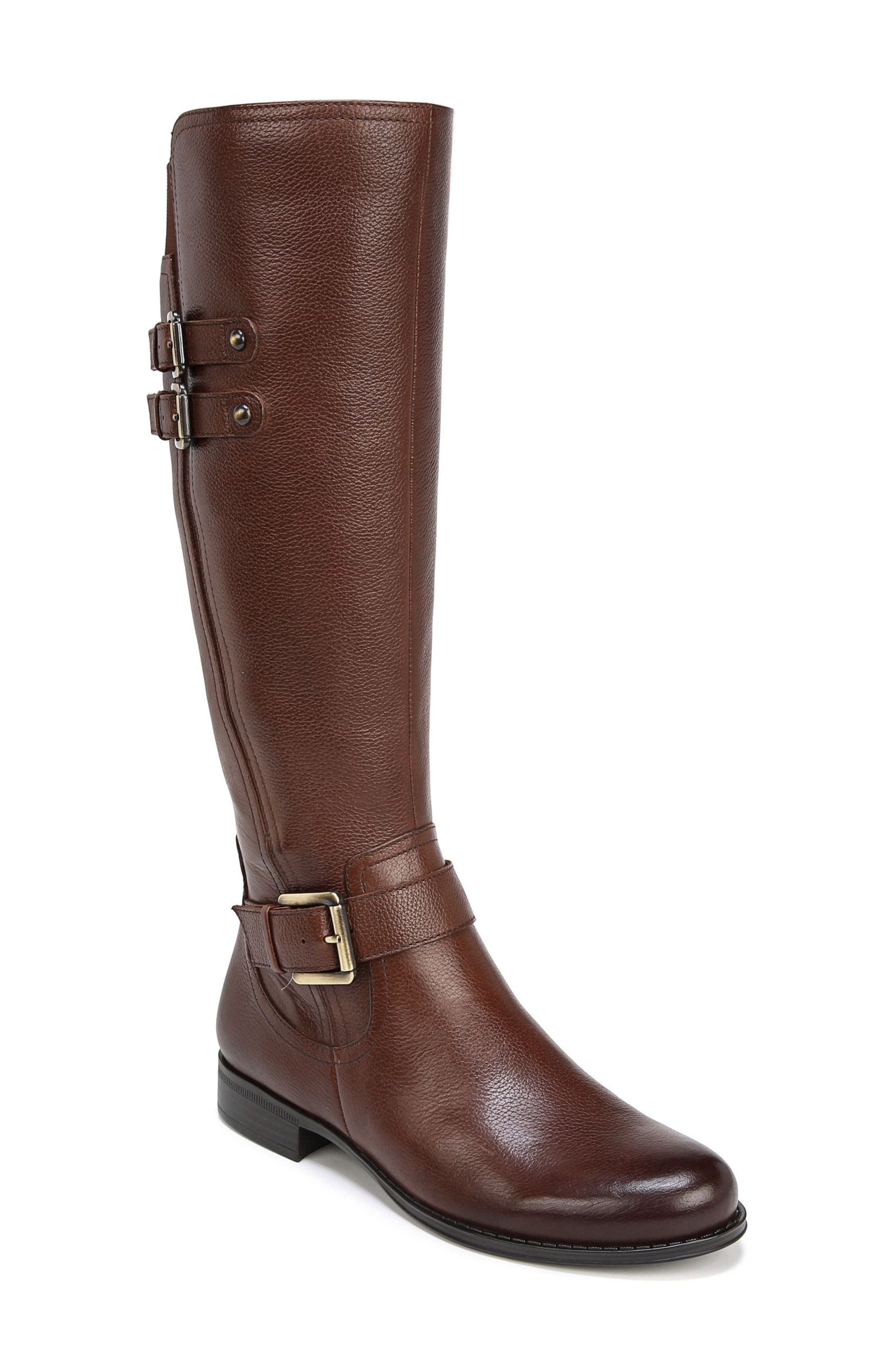 Naturalizer Jessie Knee High Riding Boot Wide Calf- Brown