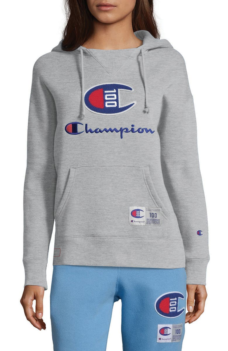 CHAMPION Century Collection Logo Hoodie, Main, color, 021