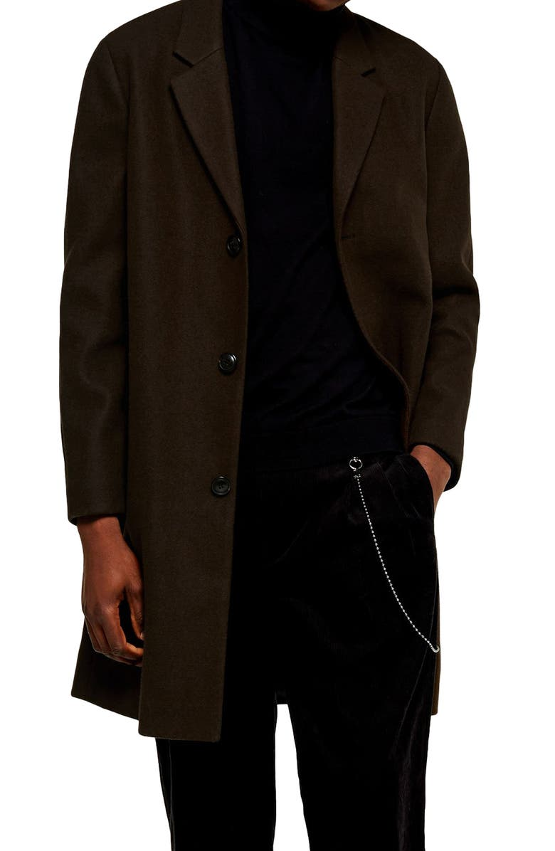 TOPMAN Single Breasted Classic Fit Coat, Main, color, OLIVE