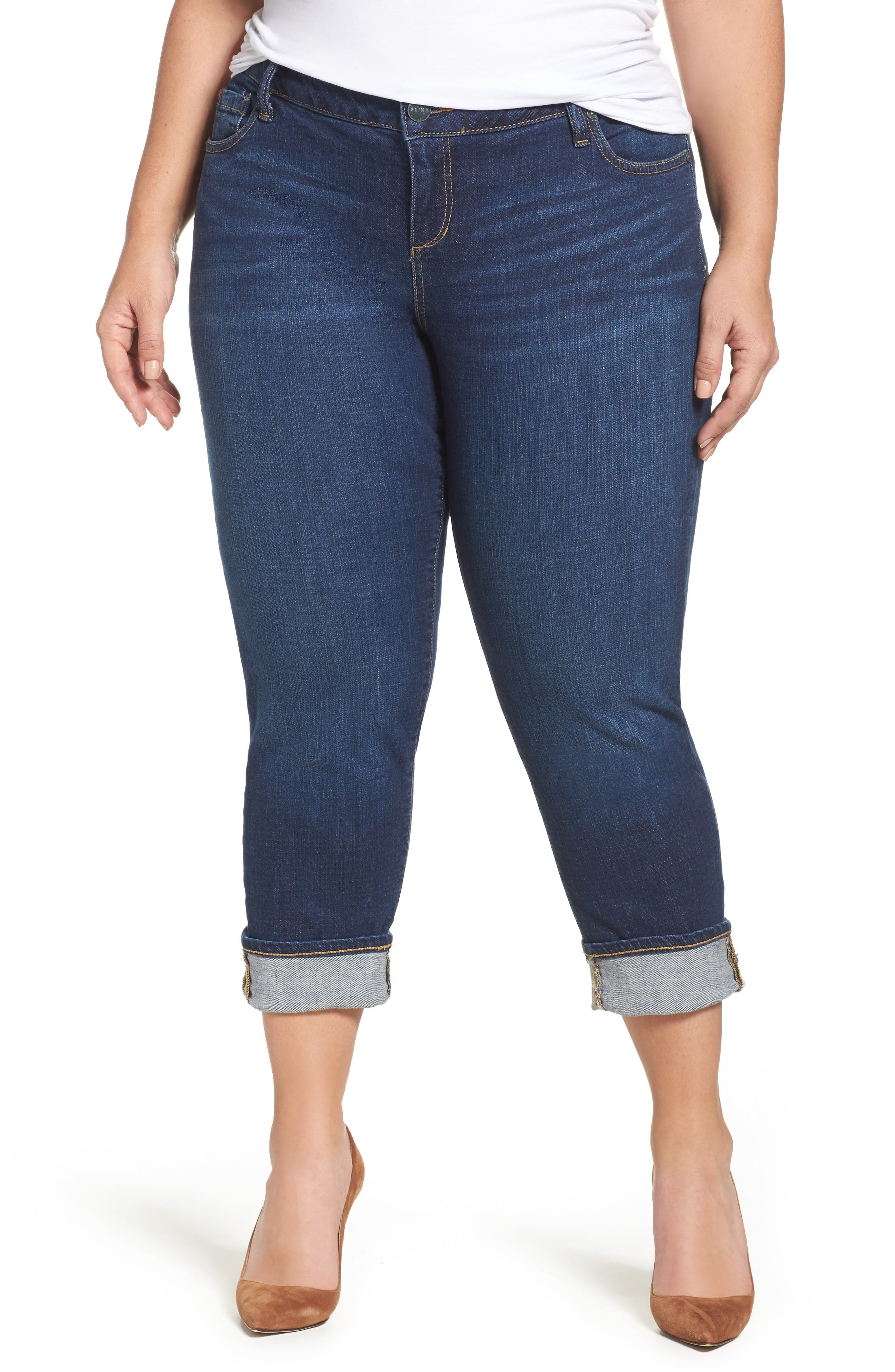SLINK Jeans Roll Crop Boyfriend Jeans (Amber) (Plus Size)