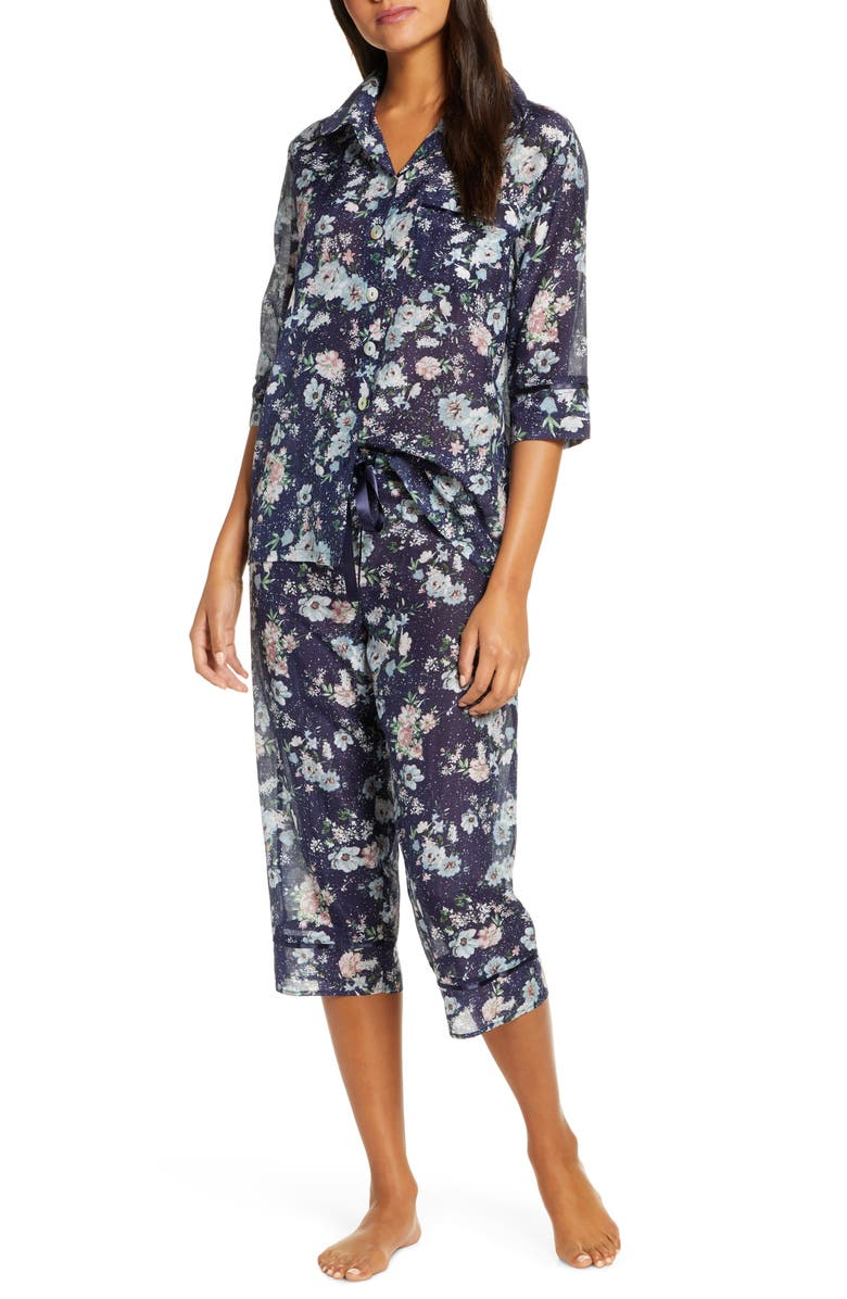 PAPINELLE Floral Print Cotton & Silk Crop Pajamas, Main, color, 400