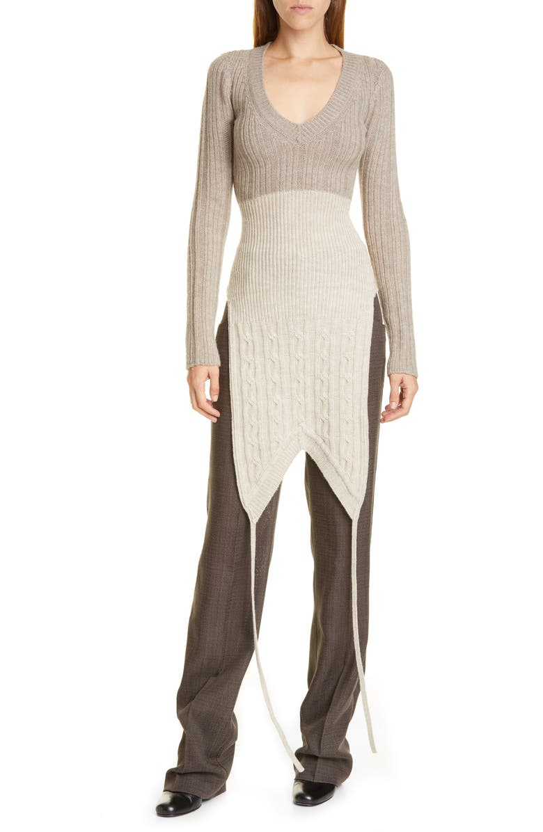 JACQUEMUS La Double Maille V-Neck Sweater, Main, color, GREY