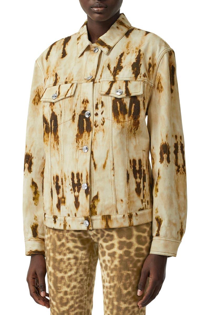 BURBERRY Prestwick Monogram Motif Bleached Denim Jacket, Main, color, HONEY IP PAT