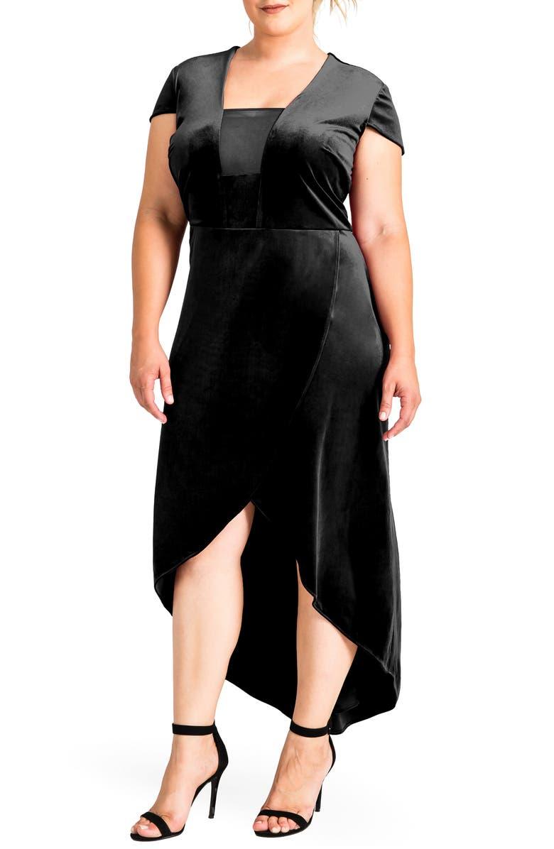 STANDARDS & PRACTICES Luna Velvet Dress, Main, color, BLACK