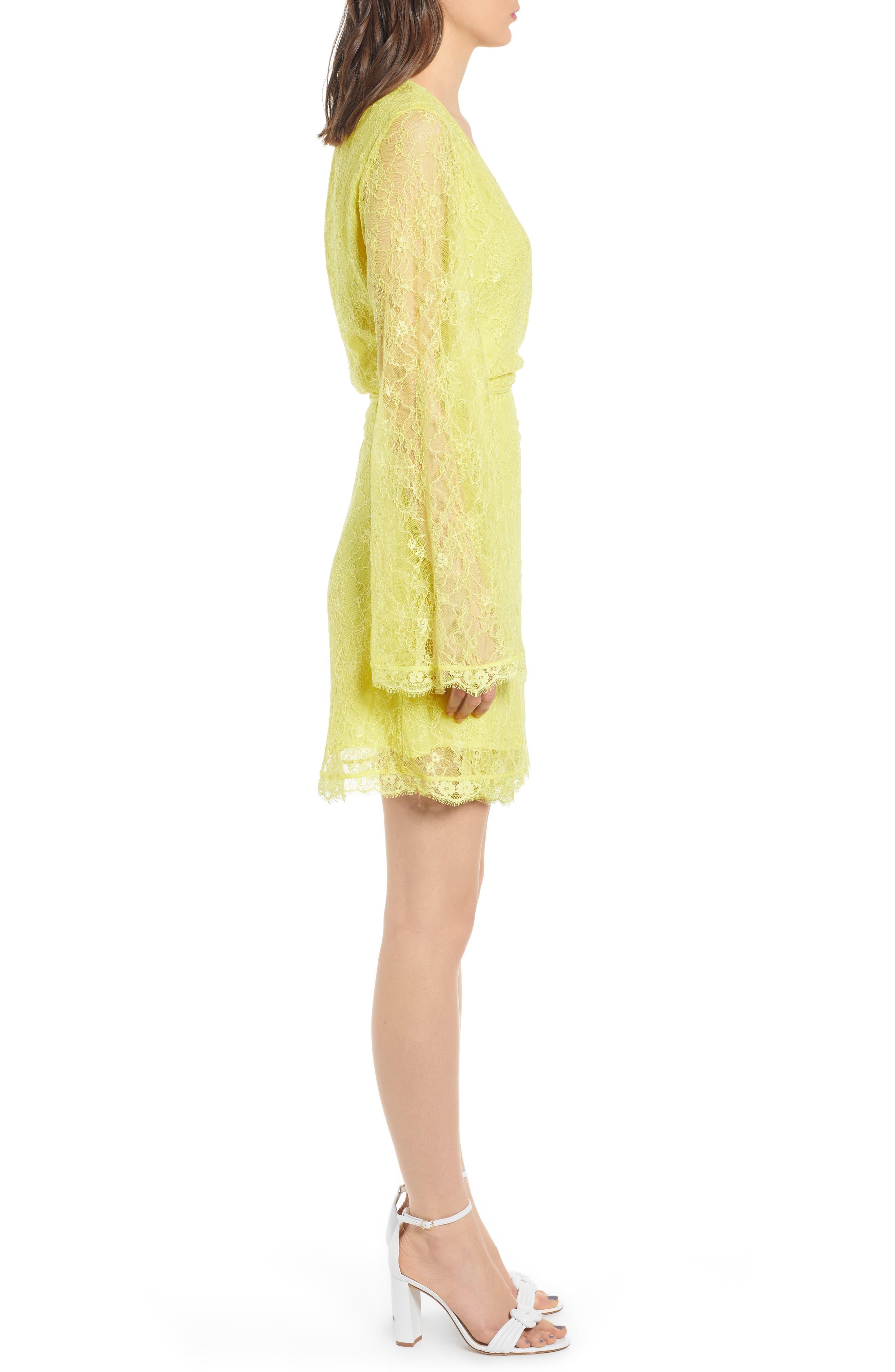 ,                             Lesley Lace Long Sleeve Wrap Dress,                             Alternate thumbnail 4, color,                             CITRON YELLOW