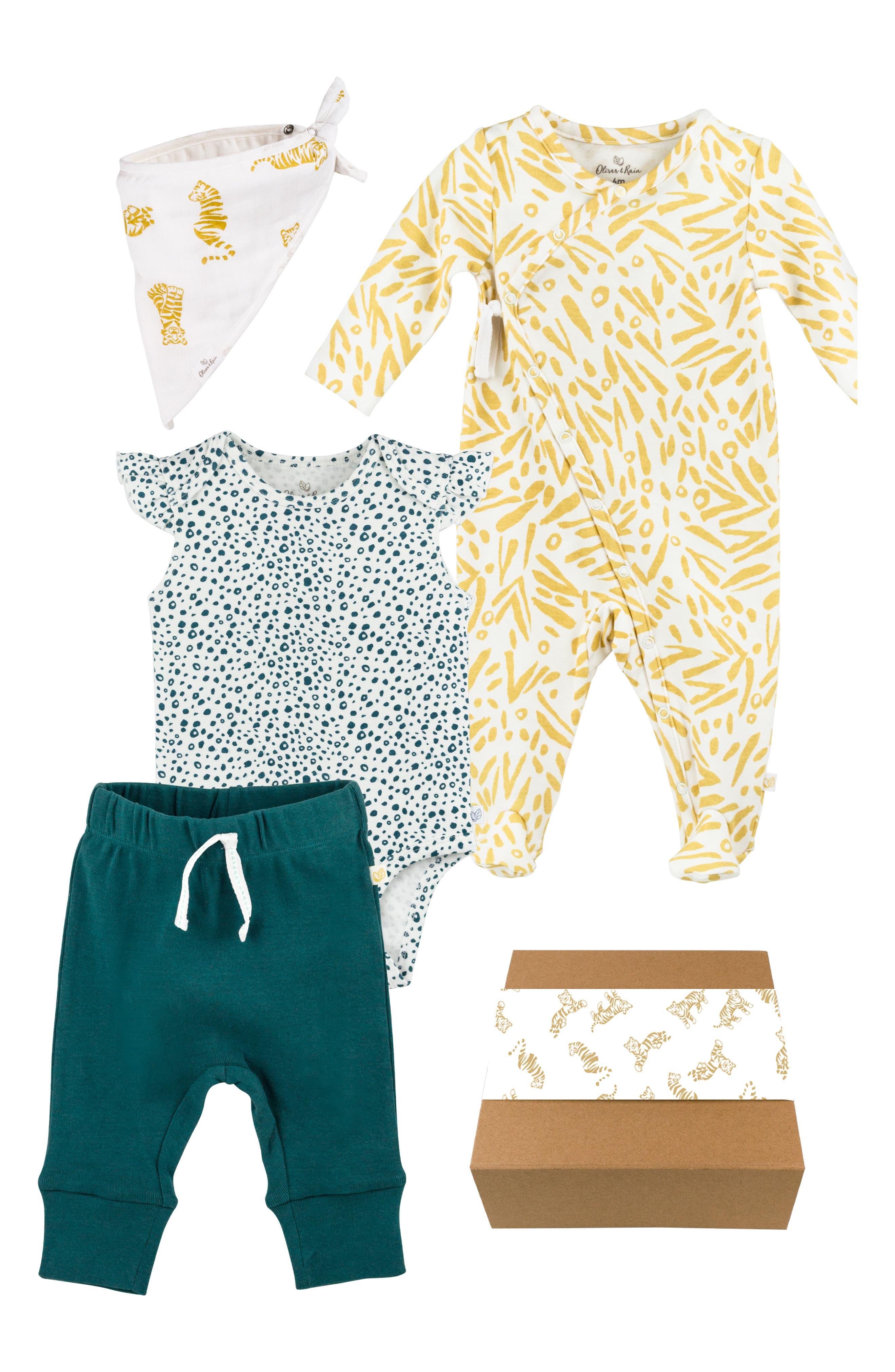 Organic Cotton Bandana Bib, Bodysuit, Sweatpants & Footie Gift Set, Main, color, 810