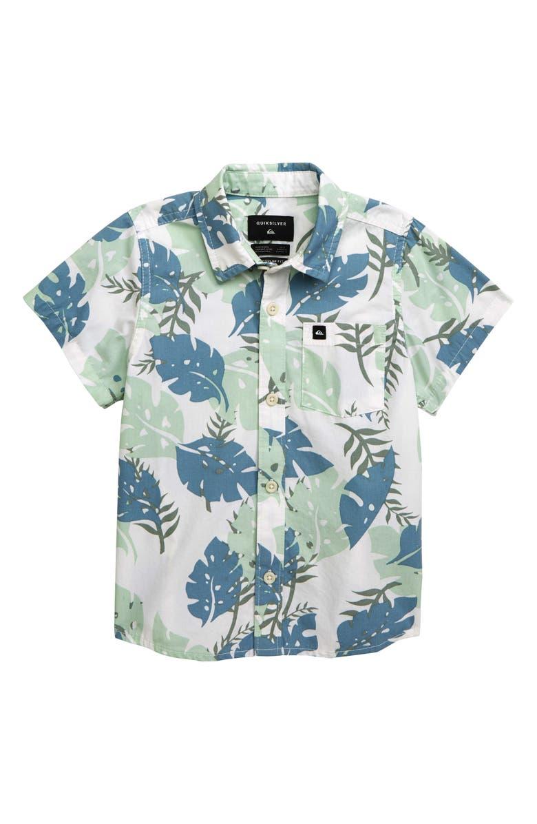 QUIKSILVER Jungle Journey Woven Shirt, Main, color, WHITE/PASTEL MINT/PASTEL BLUE