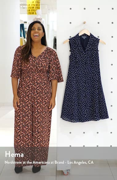 Floral Print Sleeveless Shirtdress, sales video thumbnail