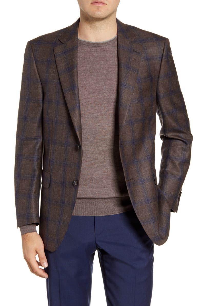 PETER MILLAR Flynn Classic Fit Plaid Wool Blend Sport Coat, Main, color, BROWN