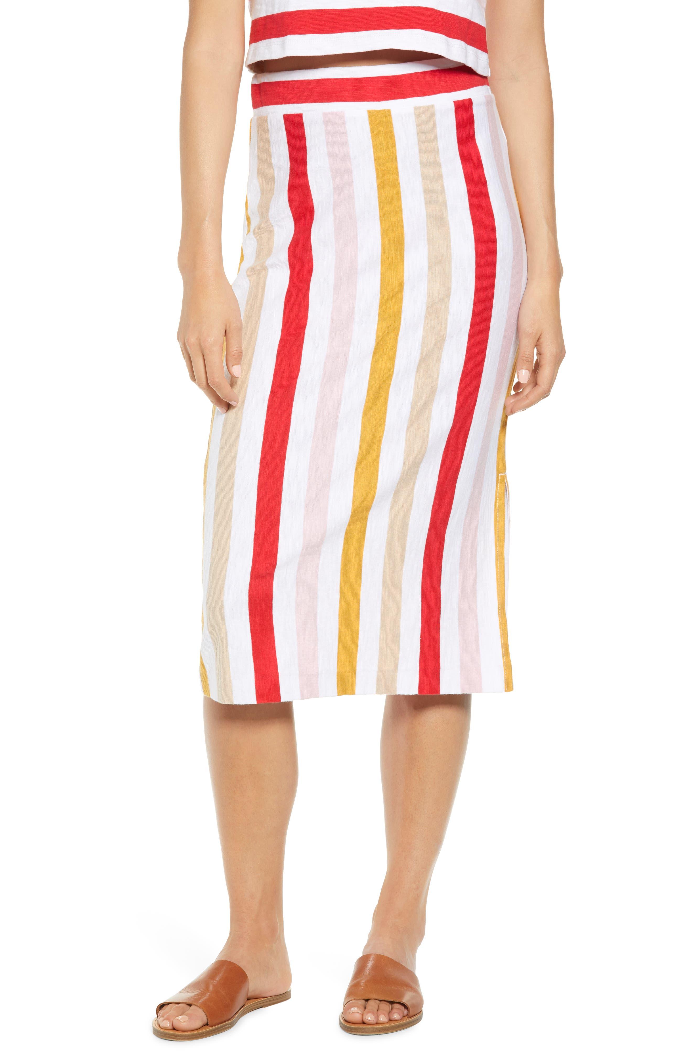 Lou & Grey Johann Stripe Midi Skirt, White