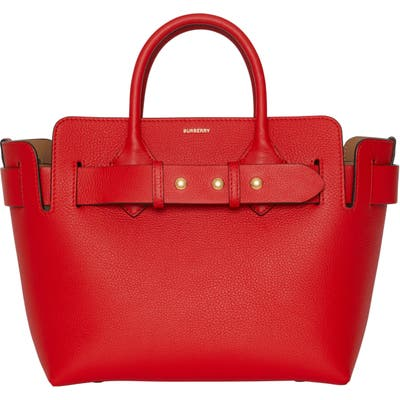 Burberry Small Belt Triple Stud Leather Satchel - Red