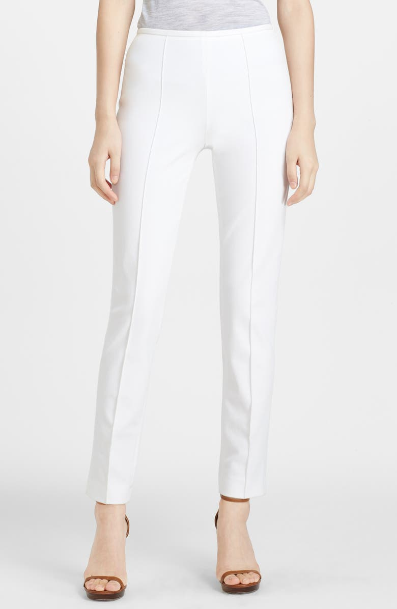 MICHAEL KORS Skinny Stretch Cotton Twill Pants, Main, color, OPTIC WHITE