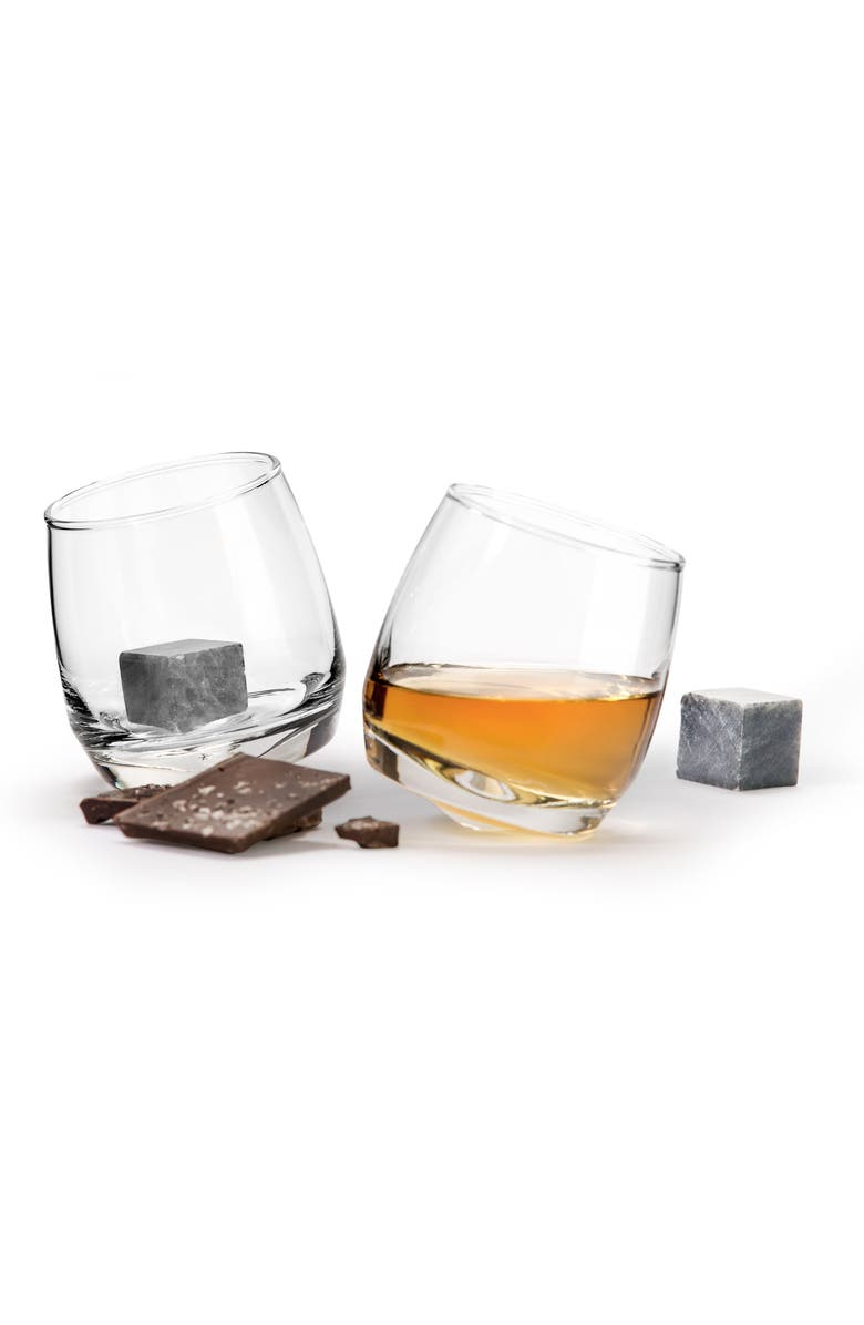 SAGAFORM Set of 2 Rocking Whiskey Tumblers & Drink Stones, Main, color, CLEAR