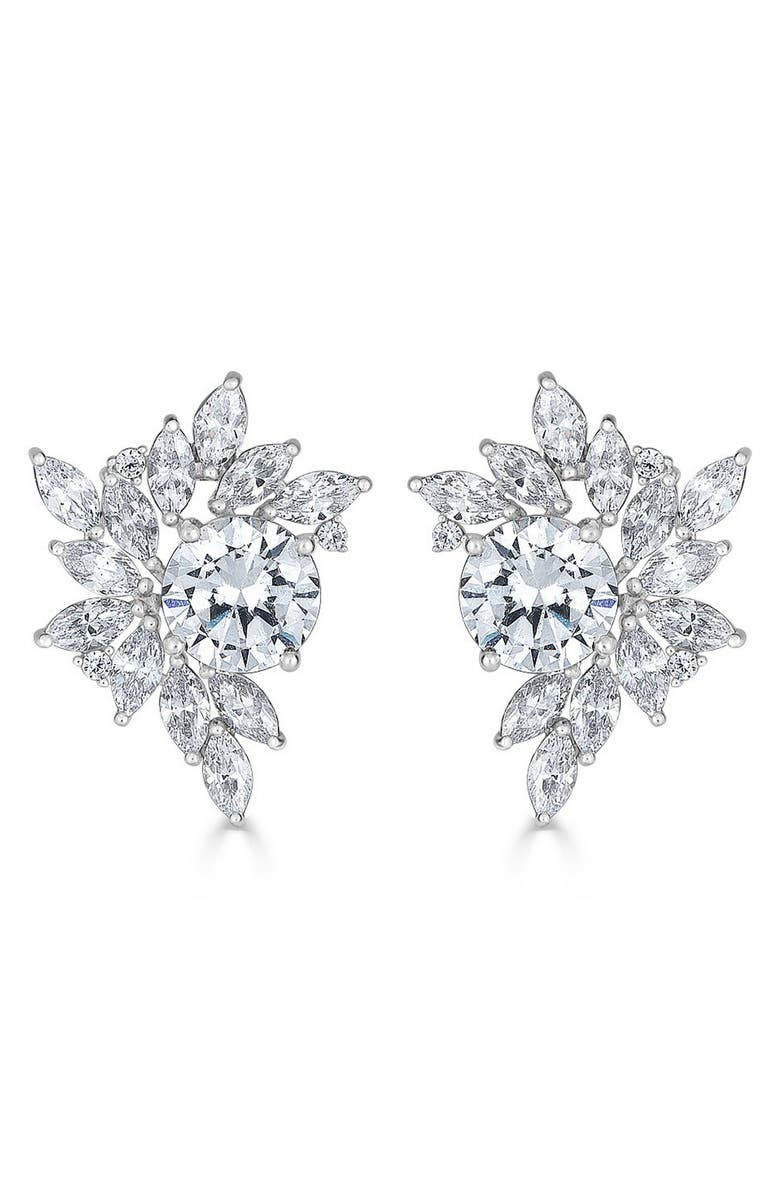 THOMAS LAINE Liz Garland Cluster Earrings, Main, color, CLEAR/ SILVER