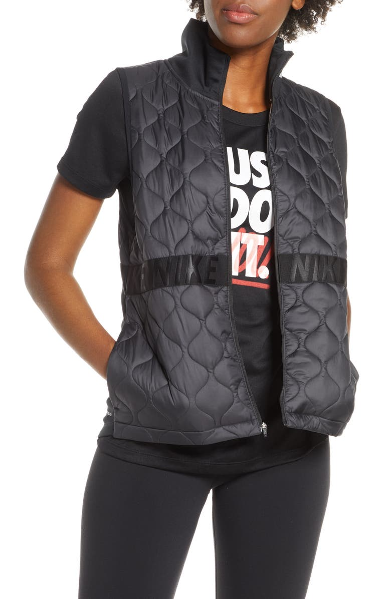 NIKE AeroLayer Water Resistant Running Vest, Main, color, 001