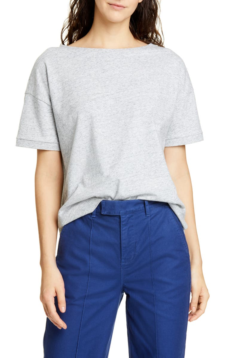 ALEX MILL Heather Boxy Slub Tee, Main, color, HEATHER GREY