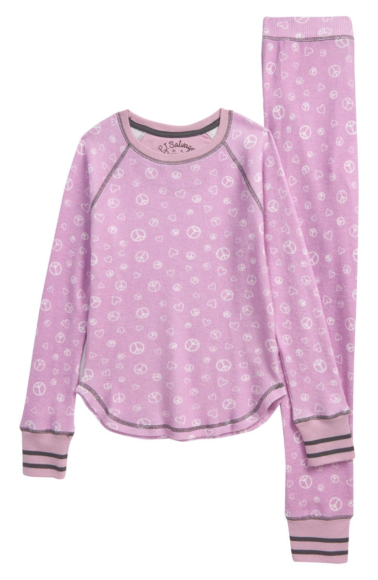 PJ SALVAGE Kids' Peace Fitted Two-Piece Pajamas, Main, color, DUSTY PURPLE