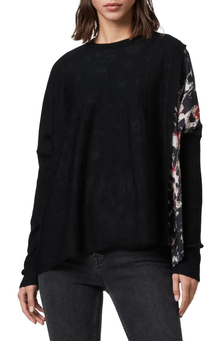 ALLSAINTS Koko Merino Wool Sweater, Main, color, BLACK