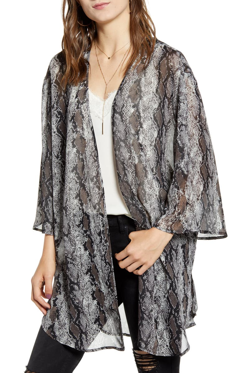 BAND OF GYPSIES Print Open Front Chiffon Wrap, Main, color, 020
