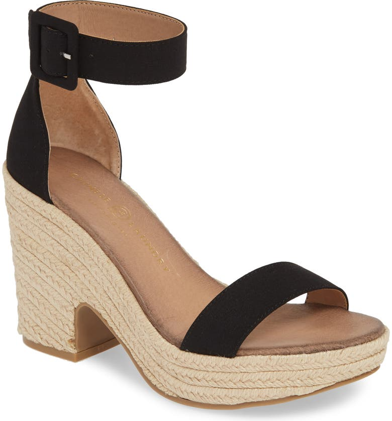 CHINESE LAUNDRY Queen Platform Sandal, Main, color, BLACK FABRIC