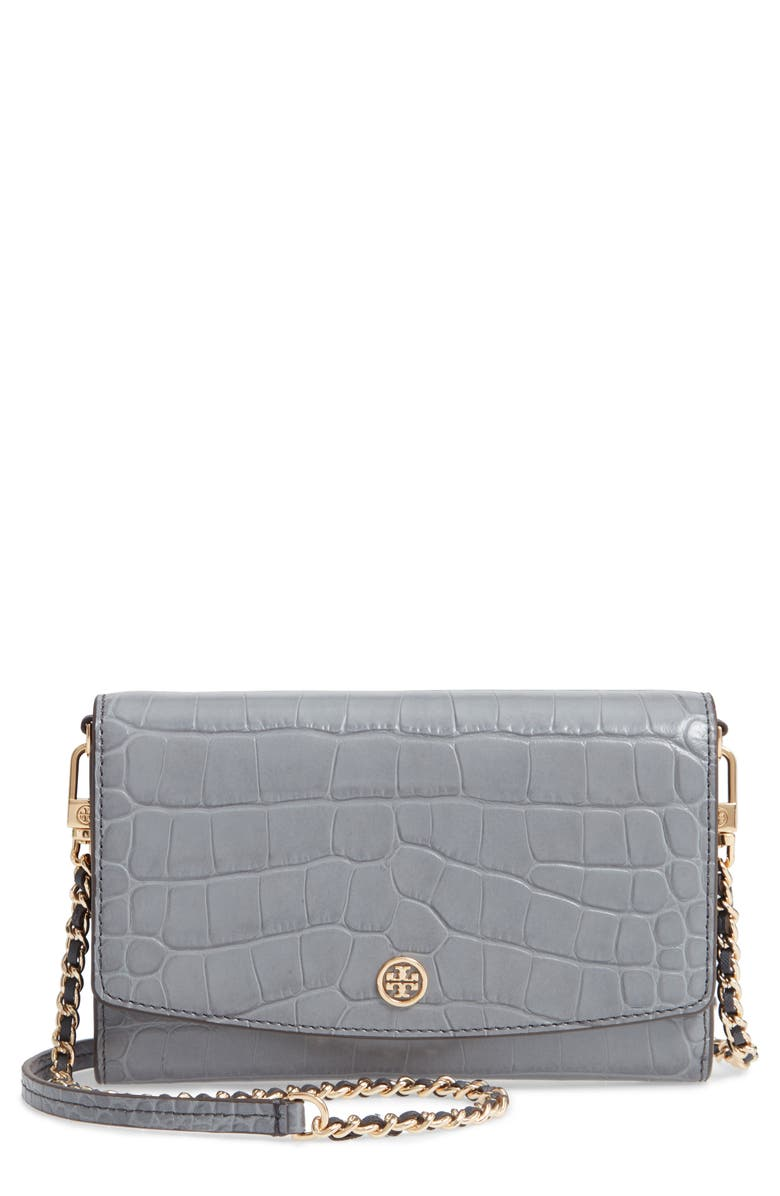 TORY BURCH Robinson Croc Embossed Leather Wallet on a Chain, Main, color, ZINC