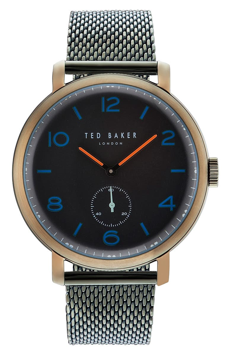 TED BAKER LONDON Harry Mesh Strap Watch, 43mm, Main, color, 001