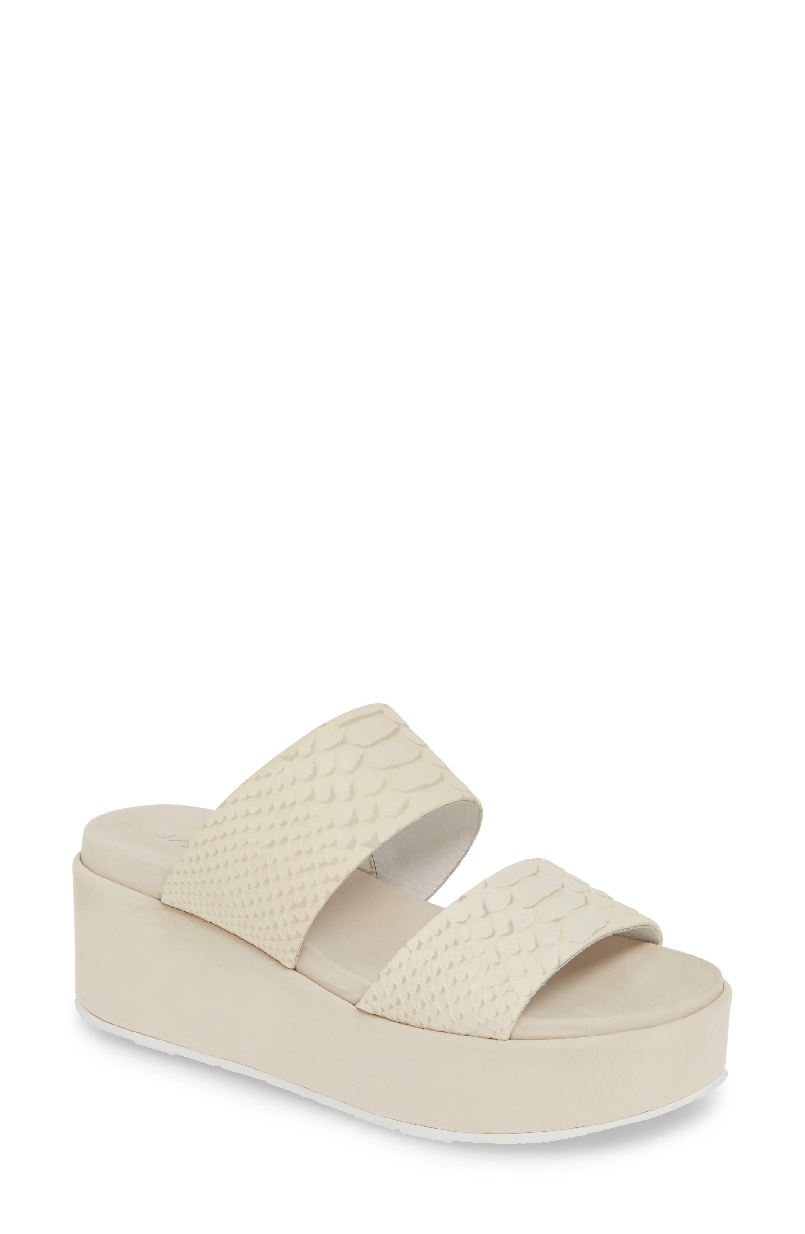 Jslides Quincy Wedge Platform Sandal- White