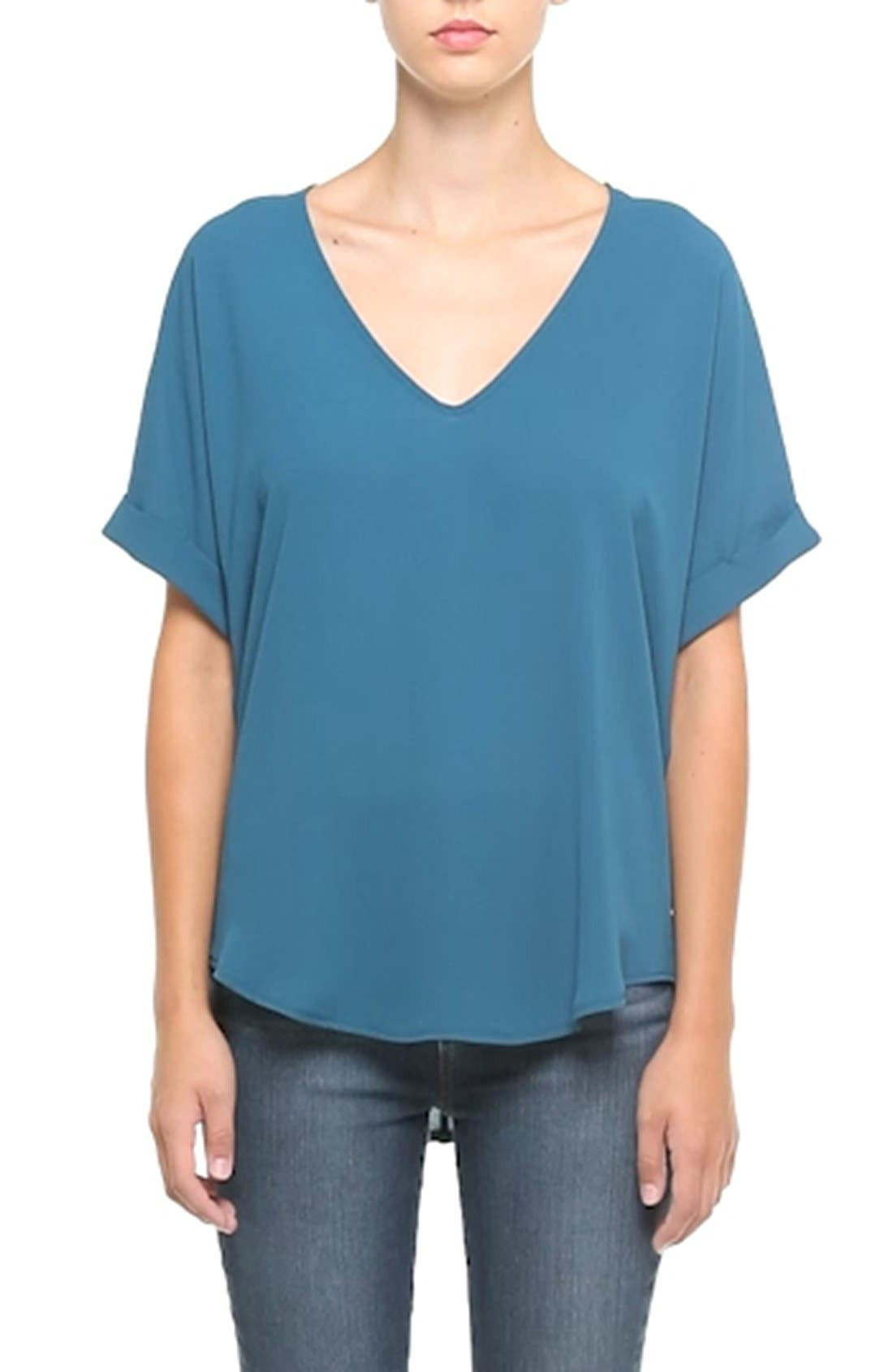 ,                             Lush Cuff Sleeve Woven Tee,                             Alternate thumbnail 105, color,                             417