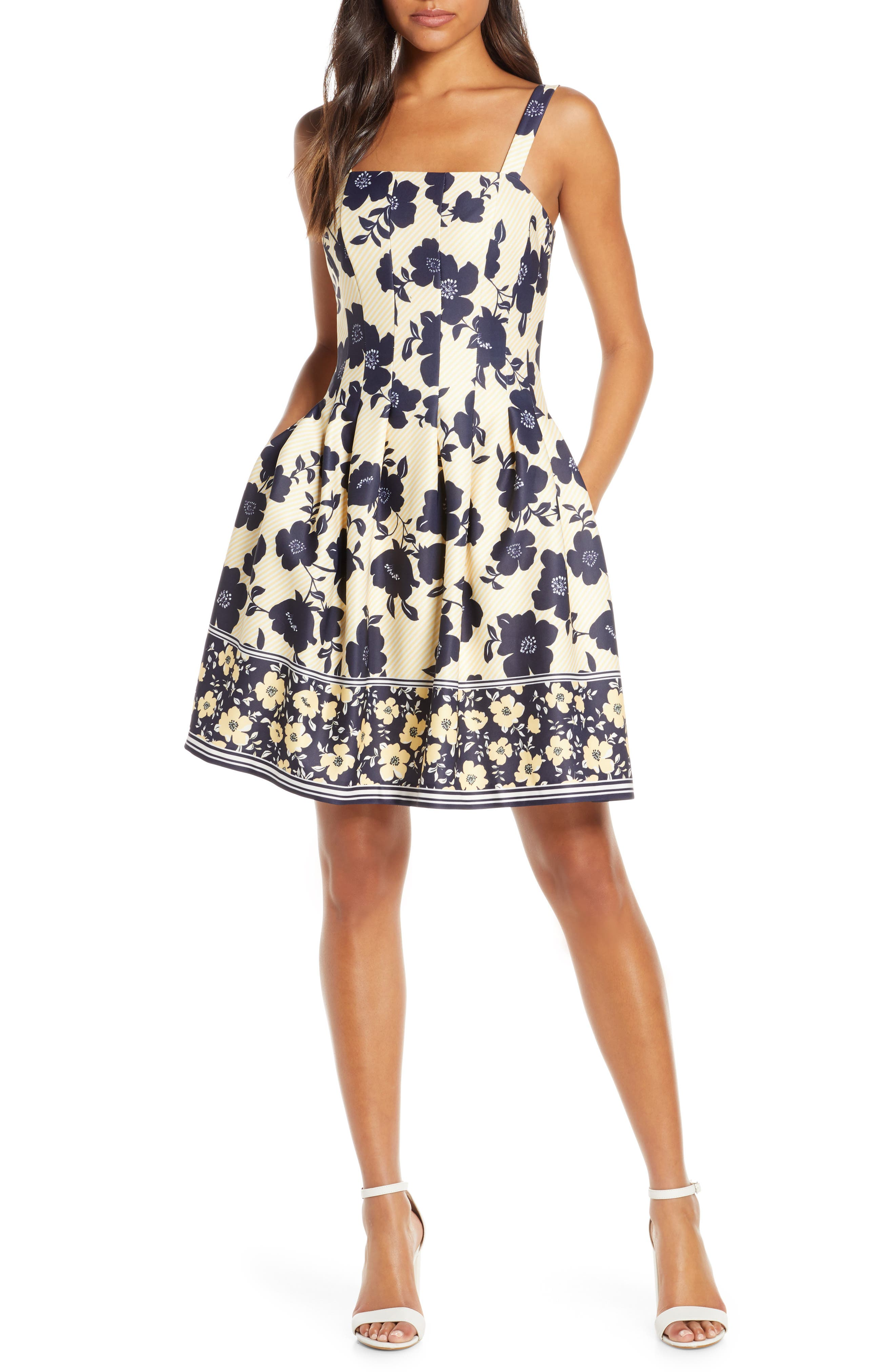 Vince Camuto Floral Pleated Scuba Fit & Flare Dress, Yellow